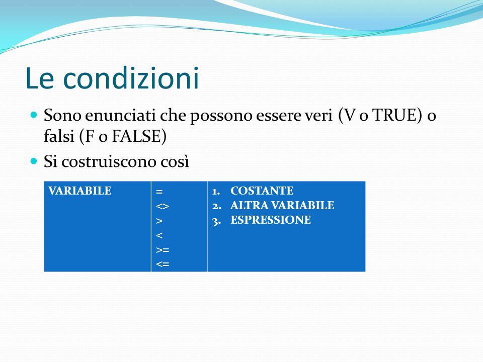 Le condizioni Sono enunciati che possono essere veri (V o TRUE) o falsi (F o FALSE) Si costruiscono così VARIABILE= <> > < >= <= 1.COSTANTE 2.ALTRA VA