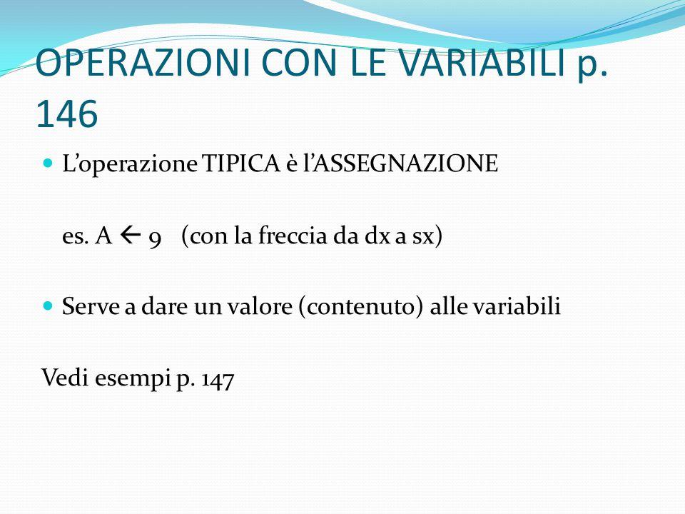 OPERAZIONI CON LE VARIABILI p. 146 L'operazione TIPICA è l'ASSEGNAZIONE es. A  9 (con la freccia da dx a sx) Serve a dare un valore (contenuto) alle