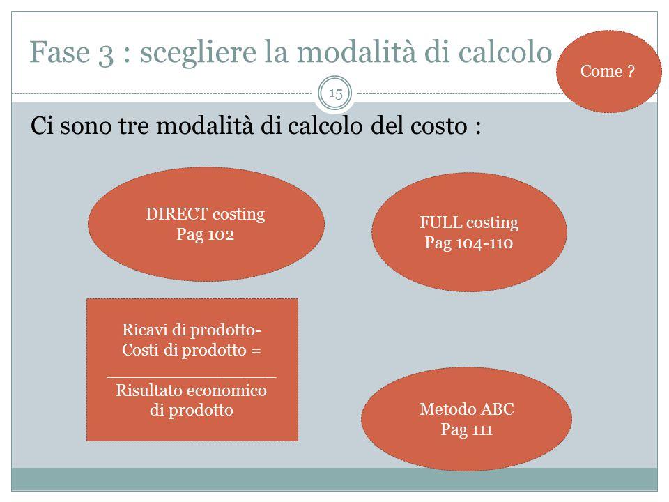 15 Fase 3 : scegliere la modalità di calcolo Ci sono tre modalità di calcolo del costo : Come .