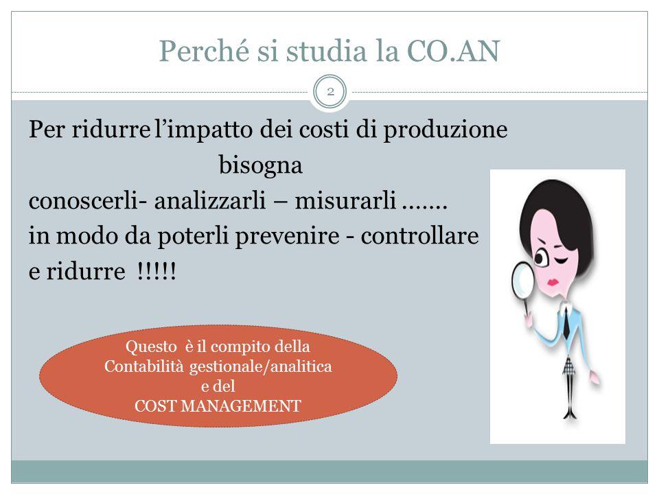 2 Perché si studia la CO.AN Per ridurre l'impatto dei costi di produzione bisogna conoscerli- analizzarli – misurarli..…..