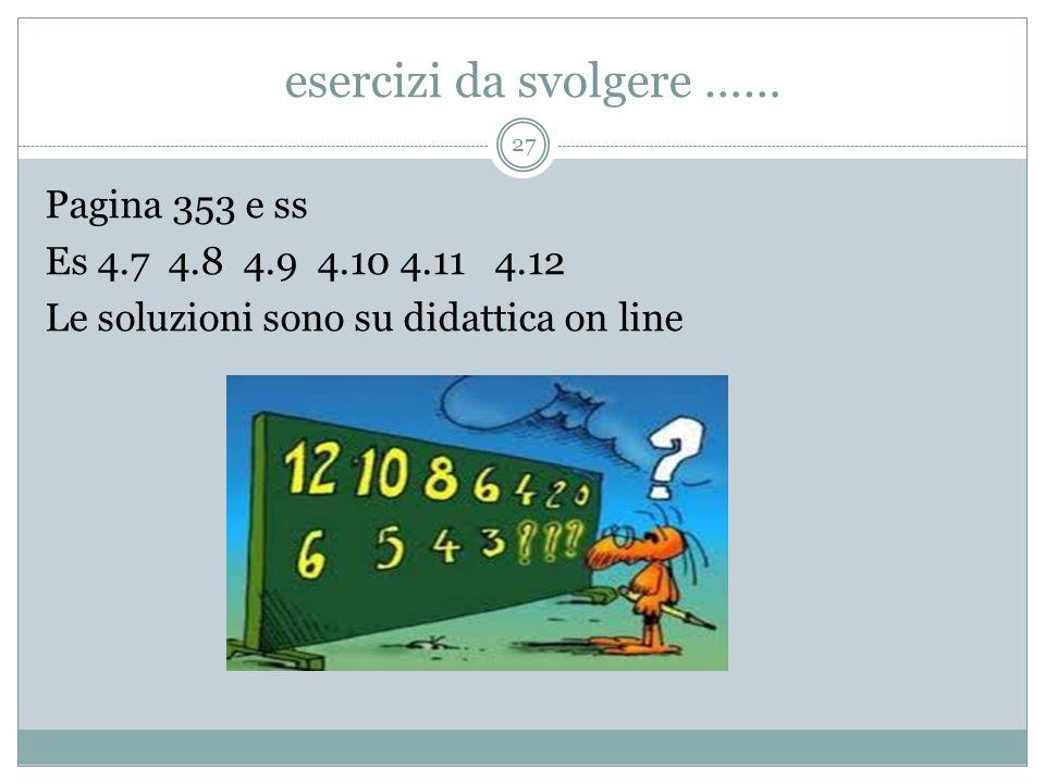 esercizi da svolgere …… 27 Pagina 353 e ss Es 4.7 4.8 4.9 4.10 4.11 4.12 Le soluzioni sono su didattica on line