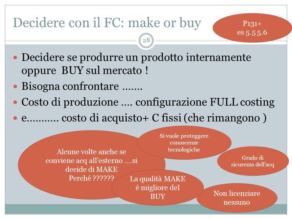 Decidere con il FC: make or buy Decidere se produrre un prodotto internamente oppure BUY sul mercato .