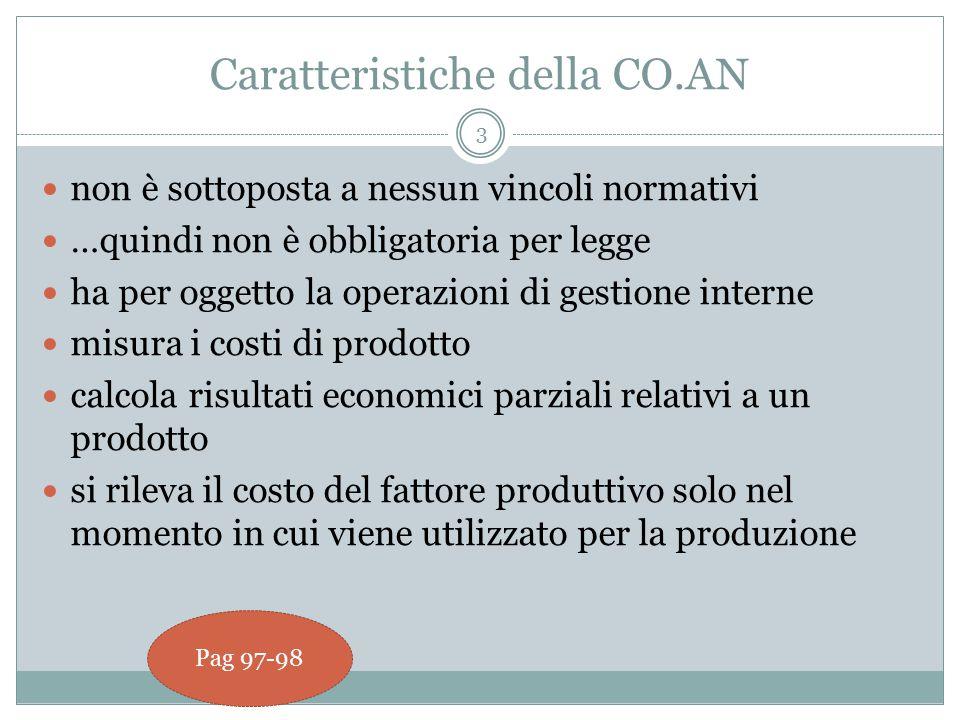 3 Caratteristiche della CO.AN non è sottoposta a nessun vincoli normativi …quindi non è obbligatoria per legge ha per oggetto la operazioni di gestione interne misura i costi di prodotto calcola risultati economici parziali relativi a un prodotto si rileva il costo del fattore produttivo solo nel momento in cui viene utilizzato per la produzione Pag 97-98