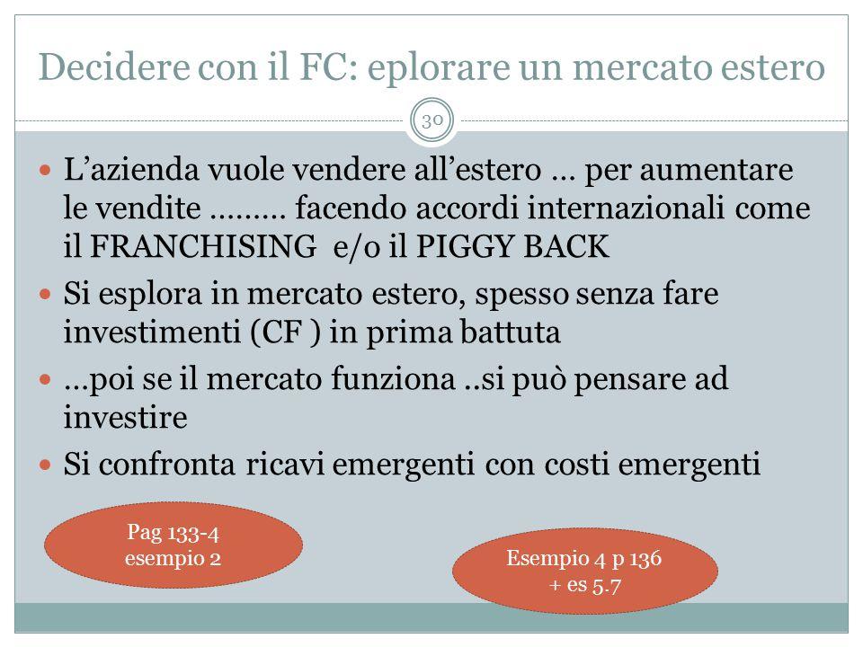 Decidere con il FC: eplorare un mercato estero L'azienda vuole vendere all'estero … per aumentare le vendite ……… facendo accordi internazionali come il FRANCHISING e/o il PIGGY BACK Si esplora in mercato estero, spesso senza fare investimenti (CF ) in prima battuta …poi se il mercato funziona..si può pensare ad investire Si confronta ricavi emergenti con costi emergenti 30 Pag 133-4 esempio 2 Esempio 4 p 136 + es 5.7