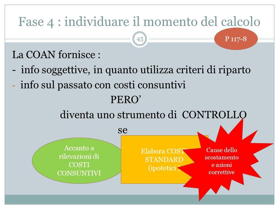 Fase 4 : individuare il momento del calcolo La COAN fornisce : - info soggettive, in quanto utilizza criteri di riparto - info sul passato con costi consuntivi PERO' diventa uno strumento di CONTROLLO se 45 P 117-8 Accanto a rilevazioni di COSTI CONSUNTIVI Elabora COSTI STANDARD (ipotetici ) Cause dello scostamento e azioni correttive