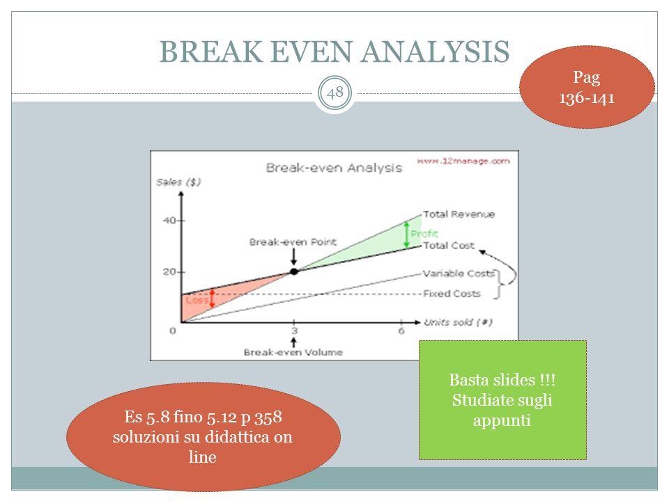 BREAK EVEN ANALYSIS 48 Pag 136-141 Es 5.8 fino 5.12 p 358 soluzioni su didattica on line Basta slides !!.