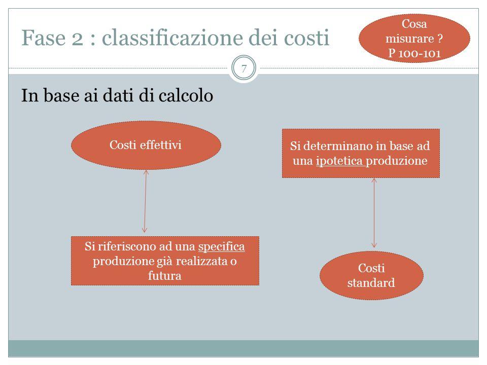 8 Fase 2 : classificazione dei costi Cosa misurare .