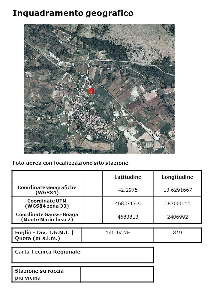 Foto aerea con localizzazione sito stazione Foglio - tav. I.G.M.I. | Quota (m s.l.m.) 146 IV NE819 Inquadramento geografico LatitudineLongitudine Coor