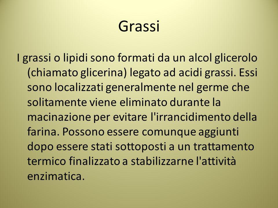 Grassi I grassi o lipidi sono formati da un alcol glicerolo (chiamato glicerina) legato ad acidi grassi.