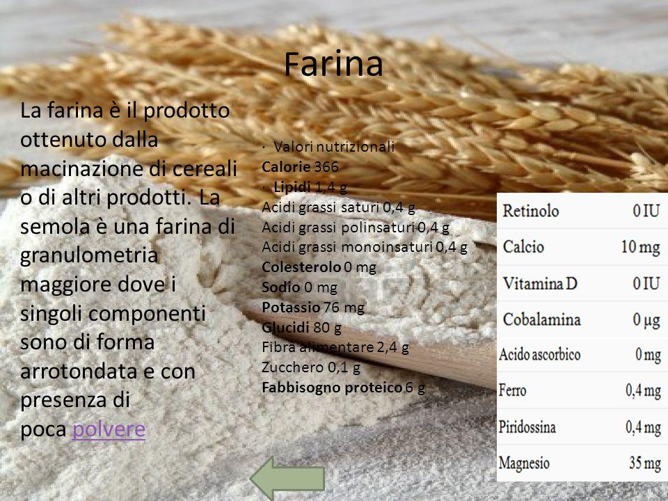 F arina · Valori nutrizionali Calorie 366 · Lipidi 1,4 g Acidi grassi saturi 0,4 g Acidi grassi polinsaturi 0,4 g Acidi grassi monoinsaturi 0,4 g Colesterolo 0 mg Sodio 0 mg Potassio 76 mg Glucidi 80 g Fibra alimentare 2,4 g Zucchero 0,1 g Fabbisogno proteico 6 g La farina è il prodotto ottenuto dalla macinazione di cereali o di altri prodotti.
