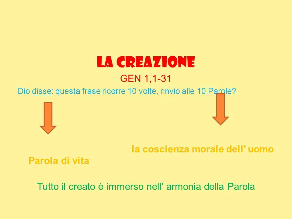 La creazione GEN 1,1-31 Dio disse: questa frase ricorre 10 volte, rinvio alle 10 Parole? la coscienza morale dell' uomo Parola di vita Tutto il creato