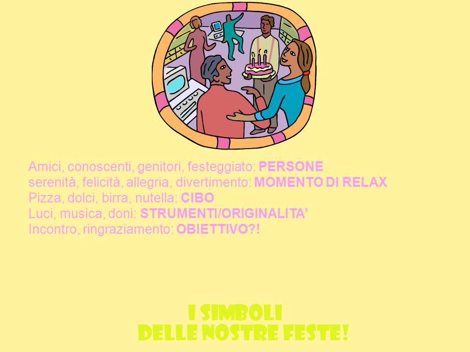 Amici, conoscenti, genitori, festeggiato: PERSONE serenità, felicità, allegria, divertimento: MOMENTO DI RELAX Pizza, dolci, birra, nutella: CIBO Luci
