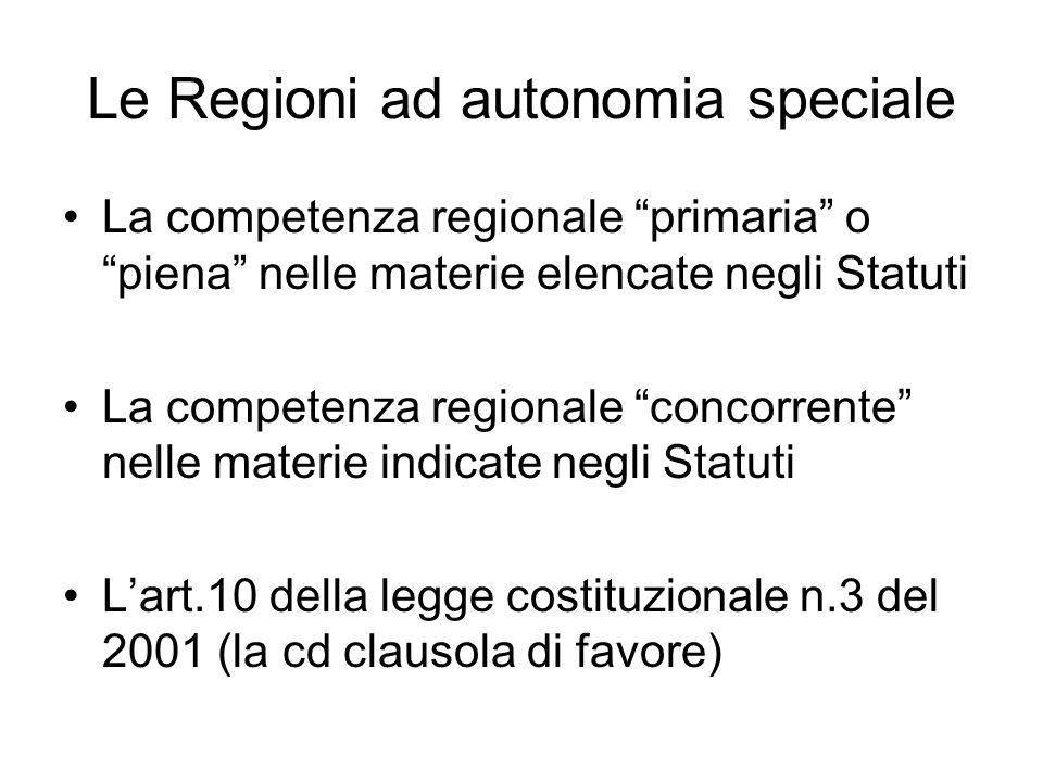 Le Regioni ad autonomia speciale La competenza regionale primaria o piena nelle materie elencate negli Statuti La competenza regionale concorrente nelle materie indicate negli Statuti L'art.10 della legge costituzionale n.3 del 2001 (la cd clausola di favore)