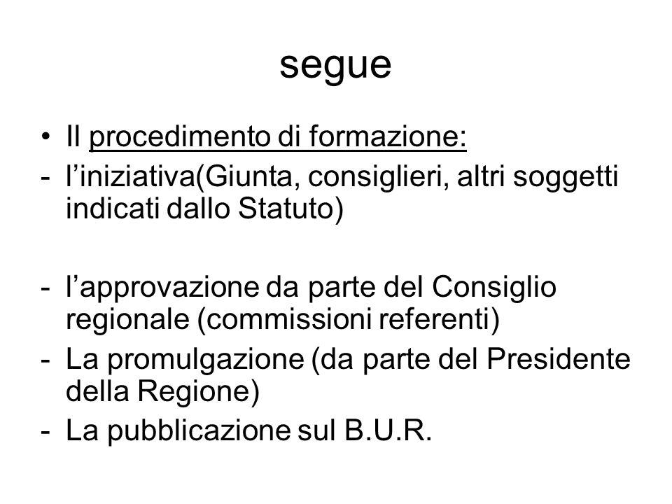 segue Il procedimento di formazione: -l'iniziativa(Giunta, consiglieri, altri soggetti indicati dallo Statuto) -l'approvazione da parte del Consiglio regionale (commissioni referenti) -La promulgazione (da parte del Presidente della Regione) -La pubblicazione sul B.U.R.