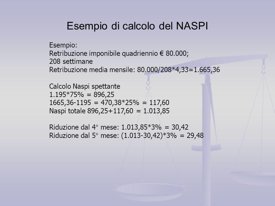 Esempio di calcolo del NASPI Esempio: Retribuzione imponibile quadriennio € 80.000; 208 settimane Retribuzione media mensile: 80.000/208*4,33=1.665,36