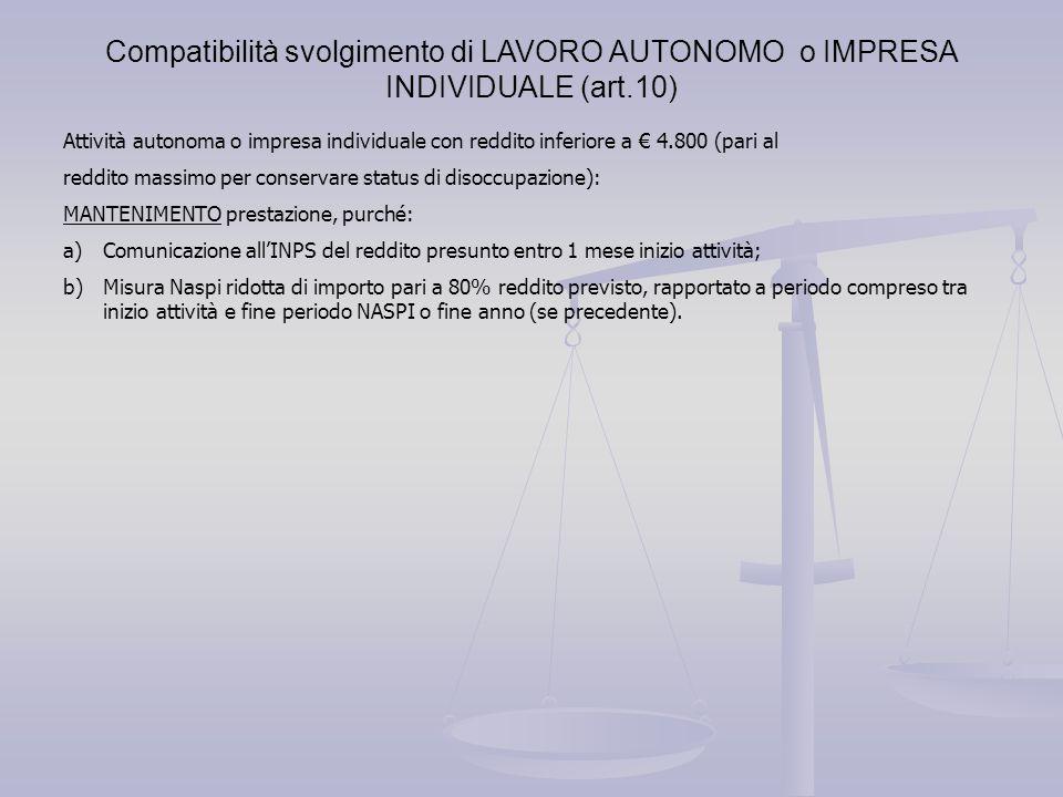 Compatibilità svolgimento di LAVORO AUTONOMO o IMPRESA INDIVIDUALE (art.10) Attività autonoma o impresa individuale con reddito inferiore a € 4.800 (p