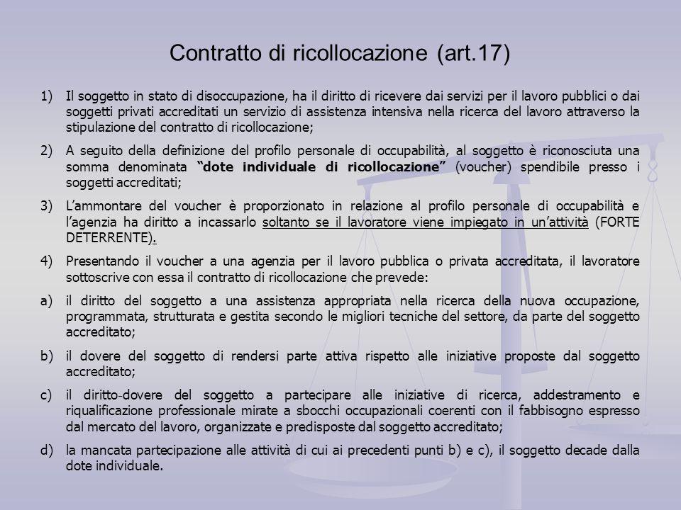 Contratto di ricollocazione (art.17) 1)Il soggetto in stato di disoccupazione, ha il diritto di ricevere dai servizi per il lavoro pubblici o dai sogg