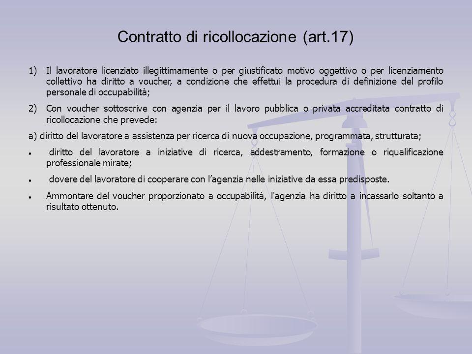 Contratto di ricollocazione (art.17) 1)Il lavoratore licenziato illegittimamente o per giustificato motivo oggettivo o per licenziamento collettivo ha