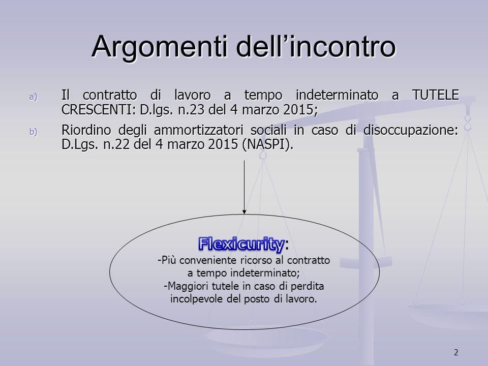 2 Argomenti dell'incontro a) Il contratto di lavoro a tempo indeterminato a TUTELE CRESCENTI: D.lgs. n.23 del 4 marzo 2015; b) Riordino degli ammortiz