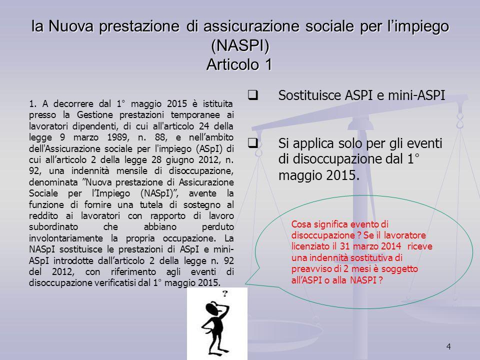 4 la Nuova prestazione di assicurazione sociale per l'impiego (NASPI) Articolo 1 1. A decorrere dal 1° maggio 2015 è istituita presso la Gestione pres
