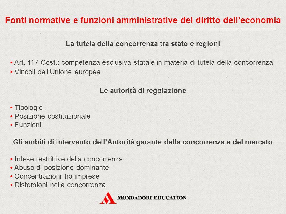 La tutela della concorrenza tra stato e regioni Art. 117 Cost.: competenza esclusiva statale in materia di tutela della concorrenza Vincoli dell'Union