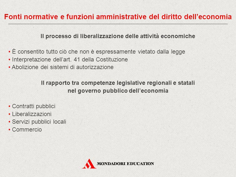 Il processo di liberalizzazione delle attività economiche È consentito tutto ciò che non è espressamente vietato dalla legge Interpretazione dell'art.