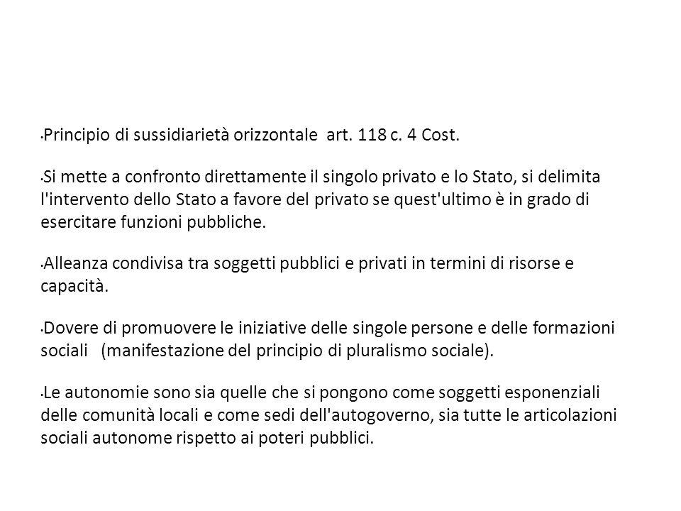 Principio di sussidiarietà orizzontale art. 118 c.