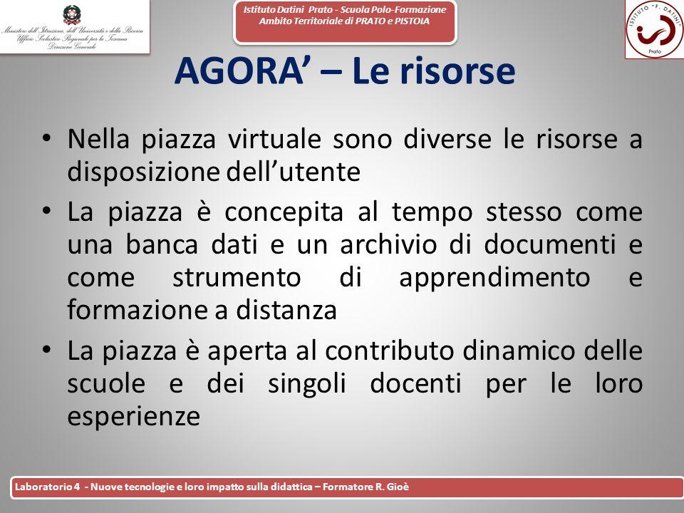 Istituto Datini Prato - Scuola Polo-Formazione Ambito Territoriale di PRATO e PISTOIA 41 Laboratorio 4 - Nuove tecnologie e loro impatto sulla didatti