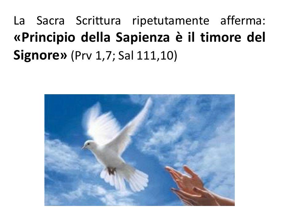 La Sacra Scrittura ripetutamente afferma: «Principio della Sapienza è il timore del Signore» (Prv 1,7; Sal 111,10)