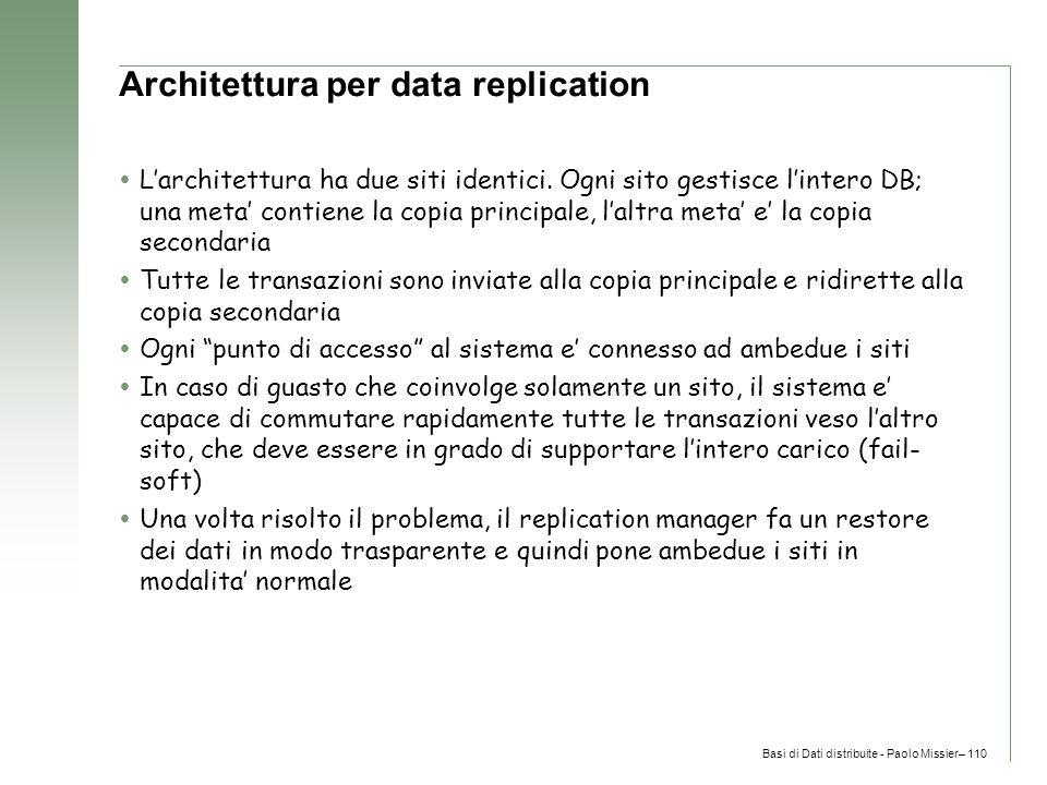 Basi di Dati distribuite - Paolo Missier– 110 Architettura per data replication  L'architettura ha due siti identici.