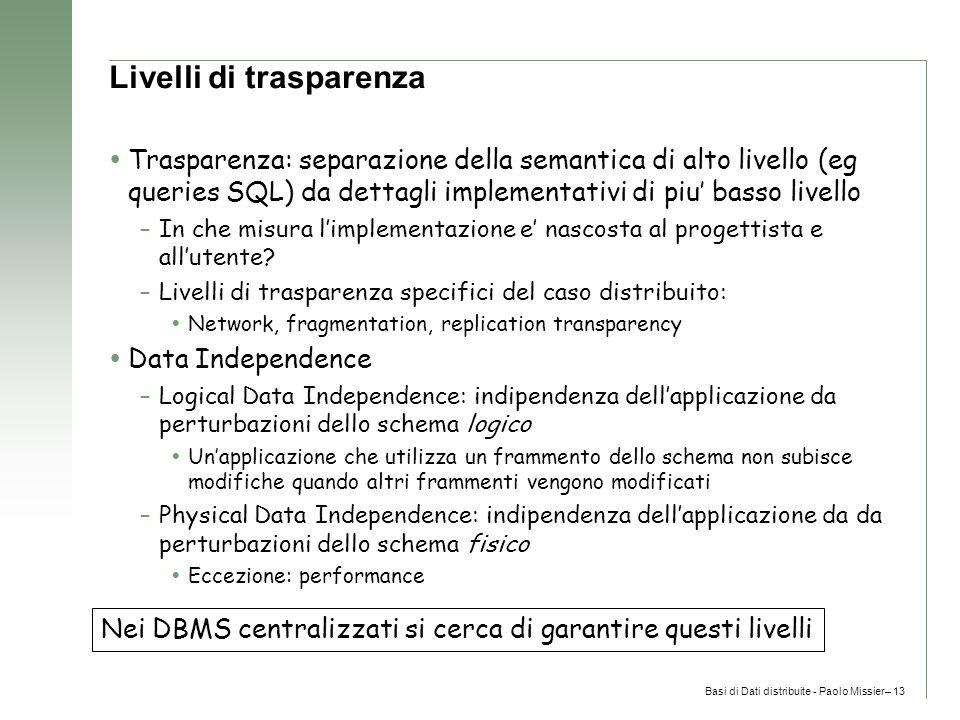Basi di Dati distribuite - Paolo Missier– 13 Livelli di trasparenza  Trasparenza: separazione della semantica di alto livello (eg queries SQL) da dettagli implementativi di piu' basso livello –In che misura l'implementazione e' nascosta al progettista e all'utente.