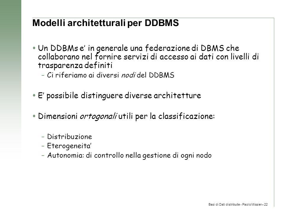 Basi di Dati distribuite - Paolo Missier– 22 Modelli architetturali per DDBMS  Un DDBMs e' in generale una federazione di DBMS che collaborano nel fornire servizi di accesso ai dati con livelli di trasparenza definiti –Ci riferiamo ai diversi nodi del DDBMS  E' possibile distinguere diverse architetture  Dimensioni ortogonali utili per la classificazione: –Distribuzione –Eterogeneita' –Autonomia: di controllo nella gestione di ogni nodo