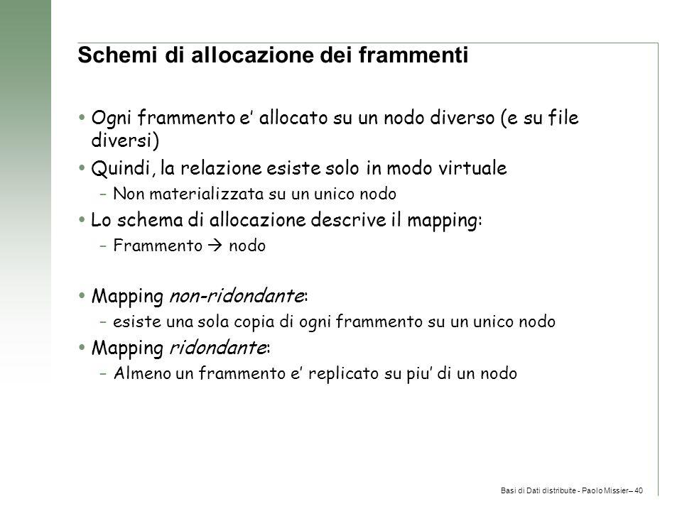 Basi di Dati distribuite - Paolo Missier– 40 Schemi di allocazione dei frammenti  Ogni frammento e' allocato su un nodo diverso (e su file diversi)  Quindi, la relazione esiste solo in modo virtuale –Non materializzata su un unico nodo  Lo schema di allocazione descrive il mapping: –Frammento  nodo  Mapping non-ridondante: –esiste una sola copia di ogni frammento su un unico nodo  Mapping ridondante: –Almeno un frammento e' replicato su piu' di un nodo