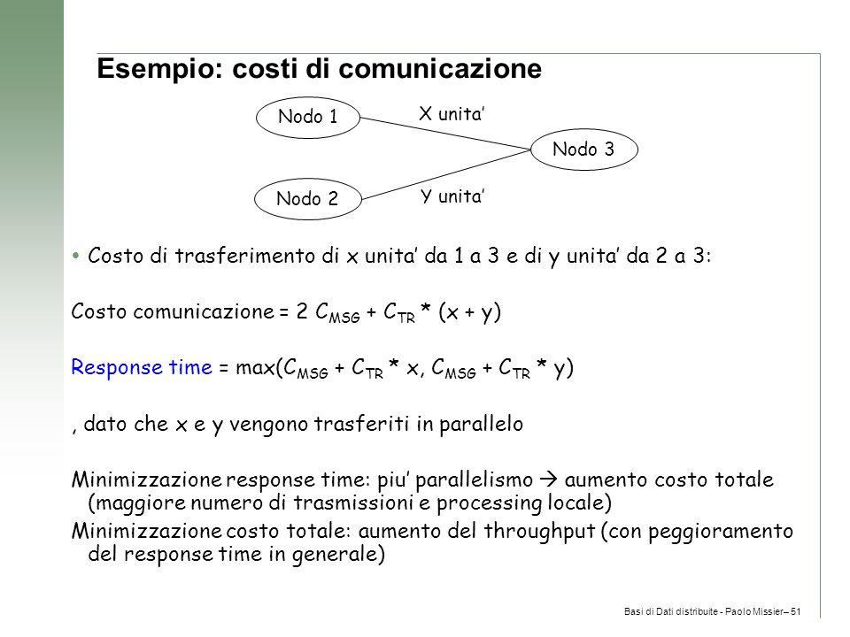 Basi di Dati distribuite - Paolo Missier– 51 Esempio: costi di comunicazione  Costo di trasferimento di x unita' da 1 a 3 e di y unita' da 2 a 3: Costo comunicazione = 2 C MSG + C TR * (x + y) Response time = max(C MSG + C TR * x, C MSG + C TR * y), dato che x e y vengono trasferiti in parallelo Minimizzazione response time: piu' parallelismo  aumento costo totale (maggiore numero di trasmissioni e processing locale) Minimizzazione costo totale: aumento del throughput (con peggioramento del response time in generale) Nodo 1 Nodo 2 Nodo 3 X unita' Y unita'