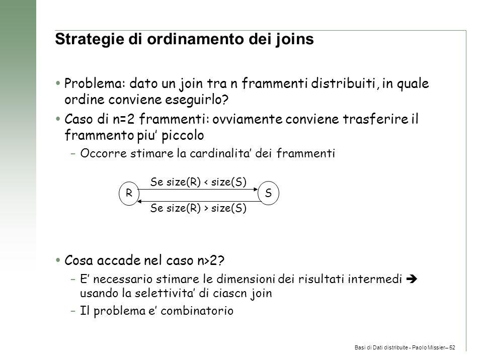 Basi di Dati distribuite - Paolo Missier– 52 Strategie di ordinamento dei joins  Problema: dato un join tra n frammenti distribuiti, in quale ordine conviene eseguirlo.