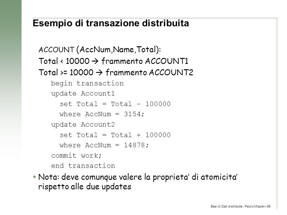 Basi di Dati distribuite - Paolo Missier– 59 Esempio di transazione distribuita ACCOUNT (AccNum,Name,Total): Total < 10000  frammento ACCOUNT1 Total >= 10000  frammento ACCOUNT2 begin transaction update Account1 set Total = Total - 100000 where AccNum = 3154; update Account2 set Total = Total + 100000 where AccNum = 14878; commit work; end transaction  Nota: deve comunque valere la proprieta' di atomicita' rispetto alle due updates