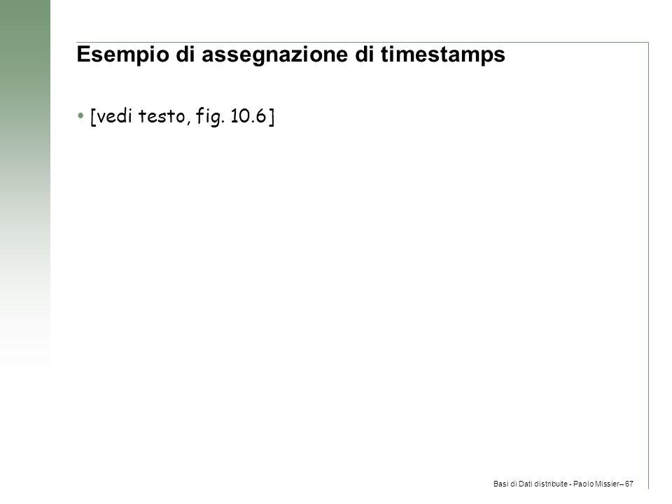 Basi di Dati distribuite - Paolo Missier– 67 Esempio di assegnazione di timestamps  [vedi testo, fig.