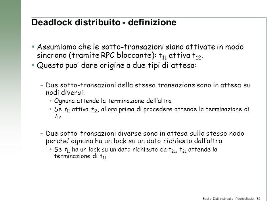 Basi di Dati distribuite - Paolo Missier– 69 Deadlock distribuito - definizione  Assumiamo che le sotto-transazioni siano attivate in modo sincrono (tramite RPC bloccante): t 11 attiva t 12.