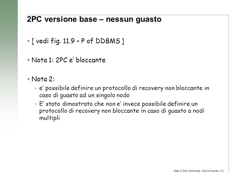 Basi di Dati distribuite - Paolo Missier– 74 2PC versione base – nessun guasto  [ vedi fig.
