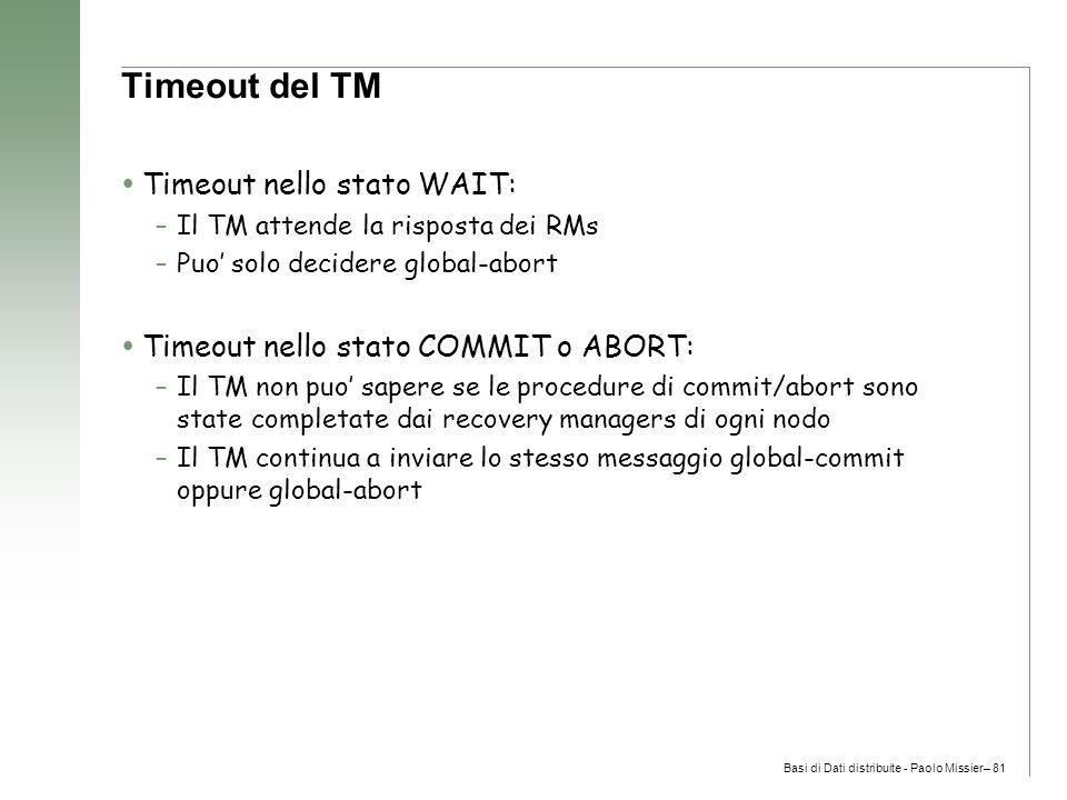 Basi di Dati distribuite - Paolo Missier– 81 Timeout del TM  Timeout nello stato WAIT: –Il TM attende la risposta dei RMs –Puo' solo decidere global-abort  Timeout nello stato COMMIT o ABORT: –Il TM non puo' sapere se le procedure di commit/abort sono state completate dai recovery managers di ogni nodo –Il TM continua a inviare lo stesso messaggio global-commit oppure global-abort