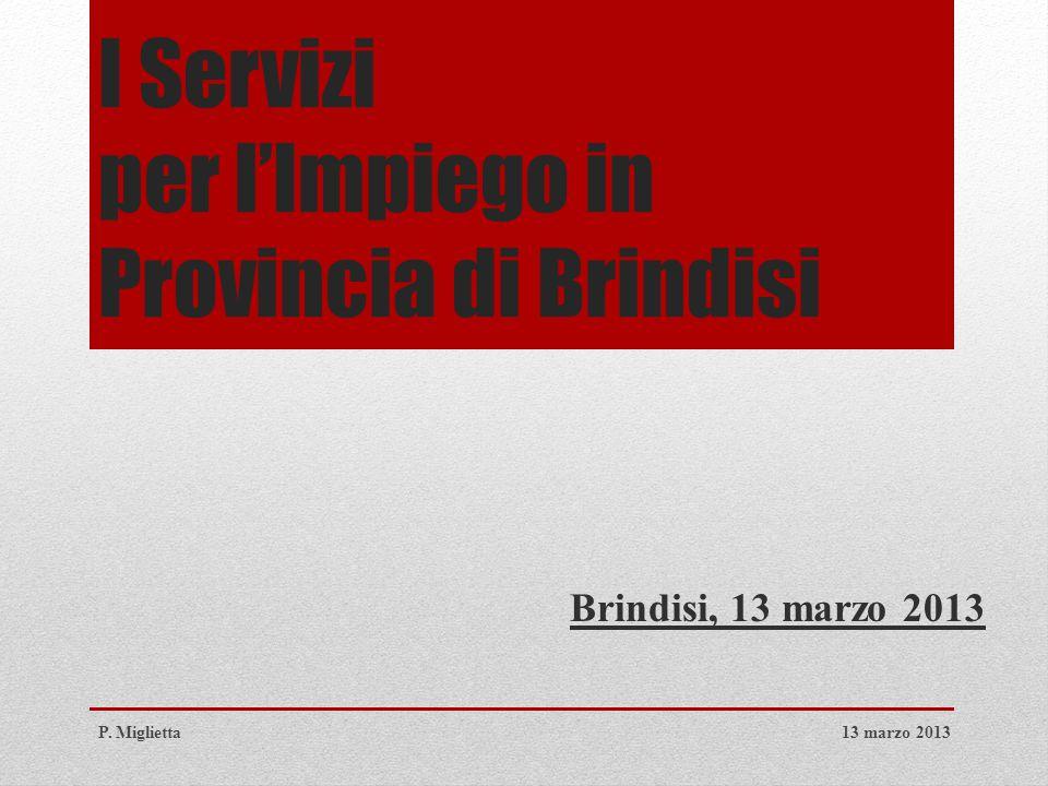 I Servizi per l'Impiego in Provincia di Brindisi Brindisi, 13 marzo 2013 13 marzo 2013P. Miglietta