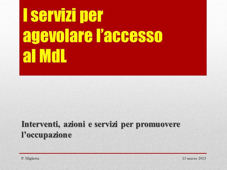 I servizi per agevolare l'accesso al MdL Interventi, azioni e servizi per promuovere l'occupazione 13 marzo 2013P.