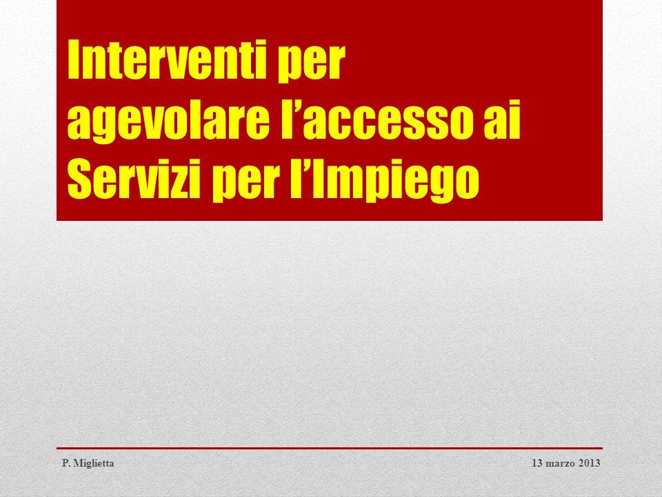 Interventi per agevolare l'accesso ai Servizi per l'Impiego 13 marzo 2013P. Miglietta