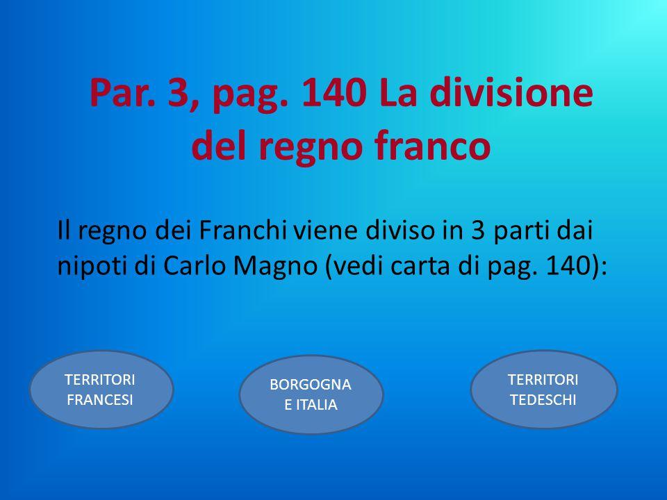 Il regno dei Franchi viene diviso in 3 parti dai nipoti di Carlo Magno (vedi carta di pag. 140): BORGOGNA E ITALIA TERRITORI FRANCESI TERRITORI TEDESC