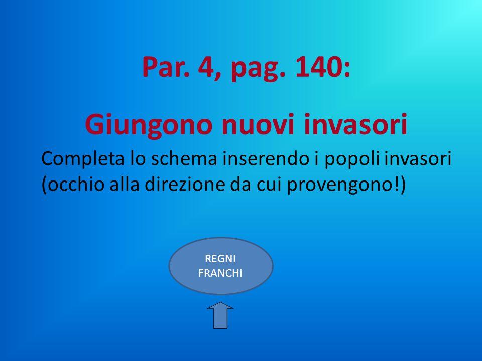 Completa lo schema inserendo i popoli invasori (occhio alla direzione da cui provengono!) REGNI FRANCHI Par. 4, pag. 140: Giungono nuovi invasori