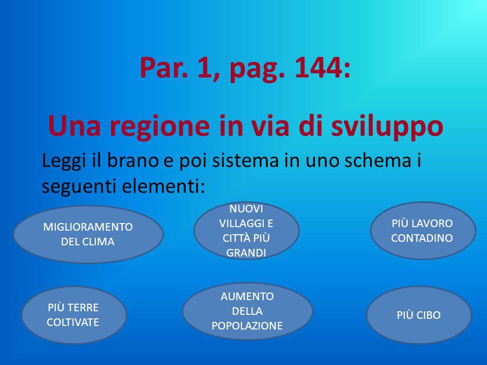 Leggi il brano e poi sistema in uno schema i seguenti elementi: Par. 1, pag. 144: Una regione in via di sviluppo MIGLIORAMENTO DEL CLIMA NUOVI VILLAGG