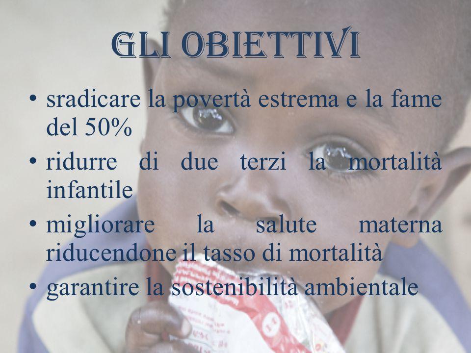 Gli obiettivi sradicare la povertà estrema e la fame del 50% ridurre di due terzi la mortalità infantile migliorare la salute materna riducendone il tasso di mortalità garantire la sostenibilità ambientale