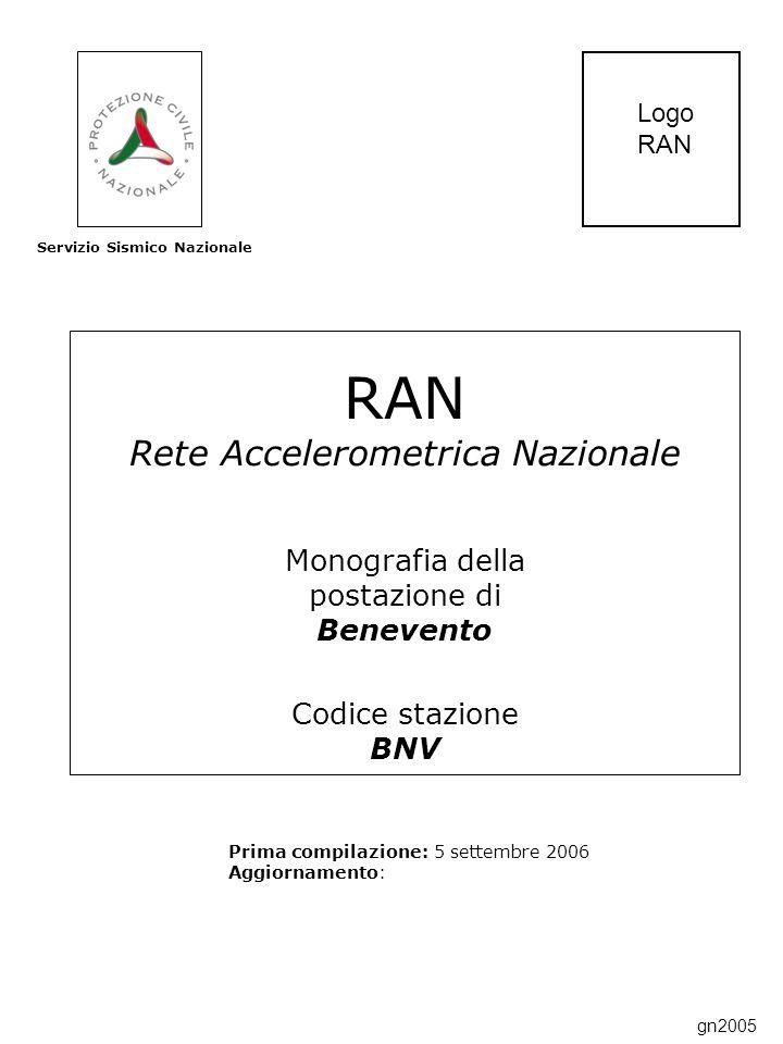 RAN Rete Accelerometrica Nazionale Monografia della postazione di Benevento Codice stazione BNV Prima compilazione: 5 settembre 2006 Aggiornamento: Servizio Sismico Nazionale Logo RAN gn2005