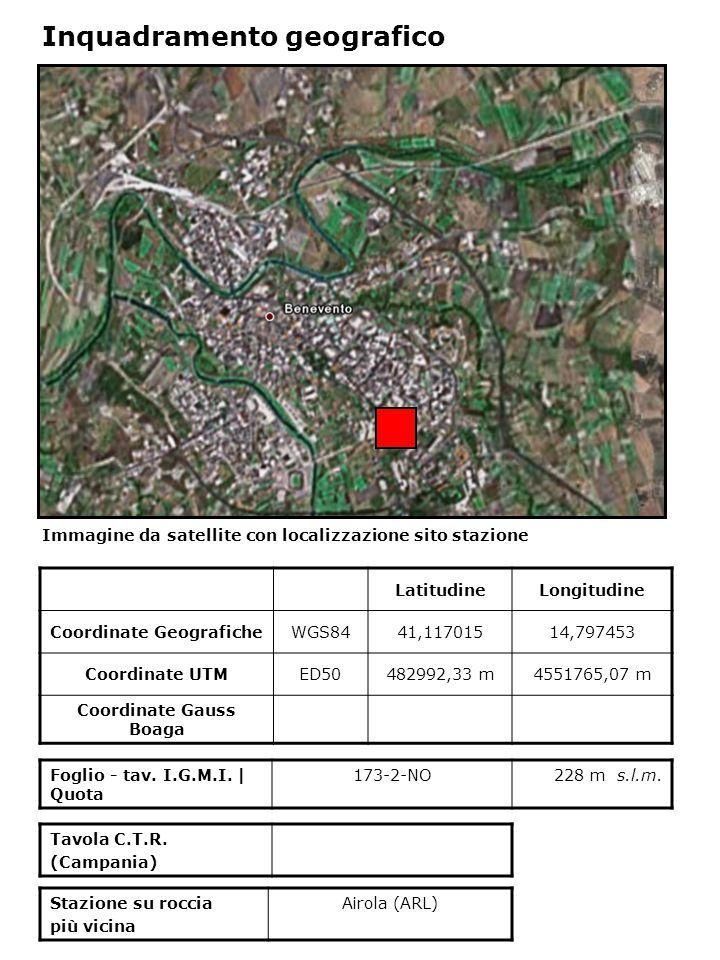 Dati acquisiti dalla stazione Stazione di BENEVENTO N° di registrazioni acquisite PGA max registrata [cm/s 2 ] Data evento in cui si è registrata il max valore di accelerazione 158,74223/11/1980
