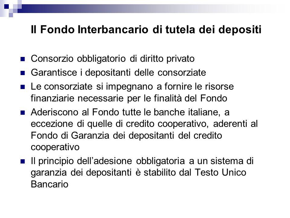 Il Fondo Interbancario di tutela dei depositi Consorzio obbligatorio di diritto privato Garantisce i depositanti delle consorziate Le consorziate si impegnano a fornire le risorse finanziarie necessarie per le finalità del Fondo Aderiscono al Fondo tutte le banche italiane, a eccezione di quelle di credito cooperativo, aderenti al Fondo di Garanzia dei depositanti del credito cooperativo Il principio dell'adesione obbligatoria a un sistema di garanzia dei depositanti è stabilito dal Testo Unico Bancario